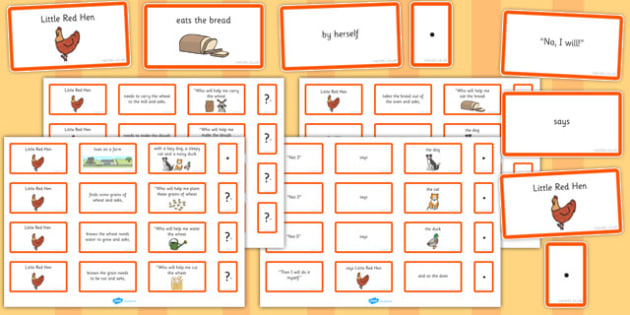 The Little Red Hen Sentence Building Cards - little red hen, sentence