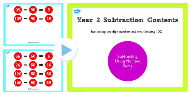 Y2 Subtract 2 Digit Number Tens Same 10 Cross 100 Main Activities