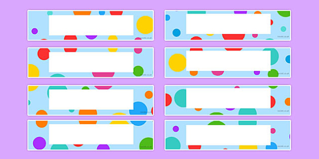 Multi-Coloured Polka Dot Tray Labels - multicoloured, polka dot, tray labels, display