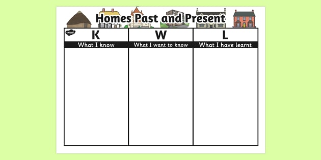 Homes Past and Present Topic KWL Grid - homes, kwl, topic, grid