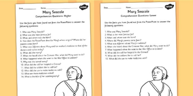 Mary Seacole Significant Individual Differentiated Reading Comprehension Activity