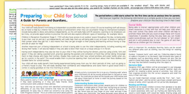Preparing Your Child For School - A Guide For Parents and Guardians Leaflet - Starting School Advice