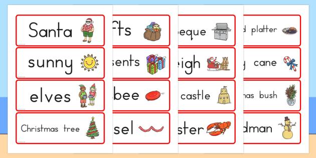 Australian Christmas Word Cards - celebrations, words, literacy