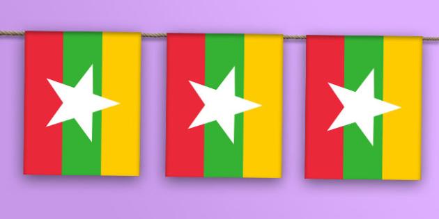 Burma Flag Bunting - burma flag, burma, flag, display bunting, display, bunting