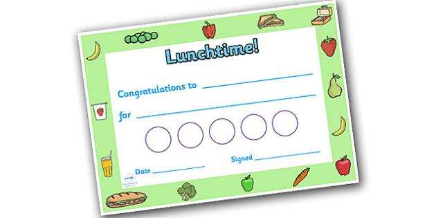 Lunchtime Themed Sticker Reward Certificate 30mm - lunchtime, lunchtime certificate, lunch certificate, lunchtime sticker certificate, lunchtime reward