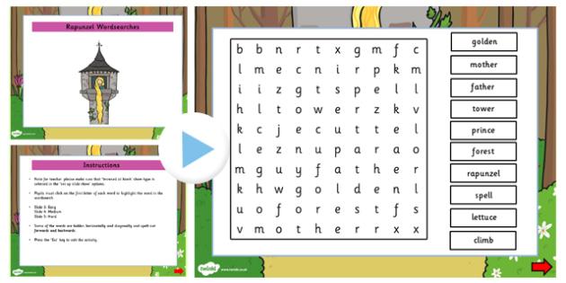 Rapunzel Interactive Wordsearch - rapunzel, wordsearch, words
