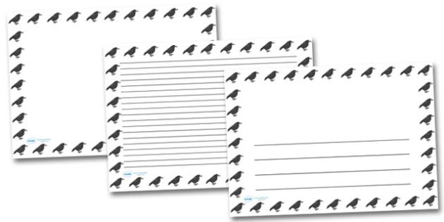 Raven Landscape Page Borders- Landscape Page Borders - Page border, border, writing template, writing aid, writing frame, a4 border, template, templates, landscape