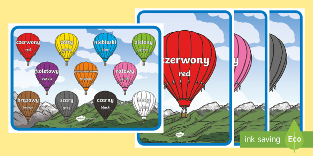 Polish Colours A4 Display Poster - Polish/English - Polski / Angielski--translation - Language Packs,polish, colours
