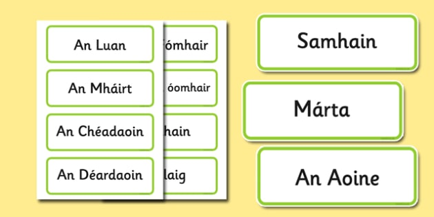 Gaeilge Days of the Week Months of the Year Word Cards - gaeilge, days, week, months, year, word cards, cards, words