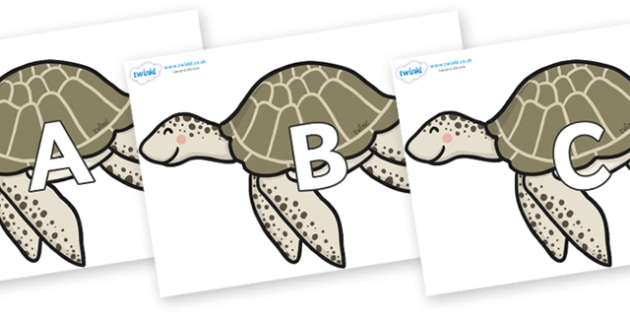 A-Z Alphabet on Turtles - A-Z, A4, display, Alphabet frieze, Display letters, Letter posters, A-Z letters, Alphabet flashcards