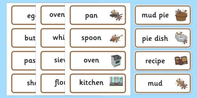 Mud Pie Kitchen Labels - mud pie, kitchen, labels, signs, recipe