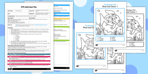 Read and Colour Activity EYFS Adult Input Plan and Resource Pack to Support Teaching on The Rainbow Fish