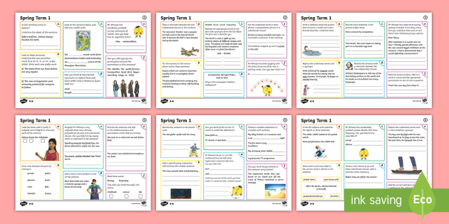 Year 6 Spring Term 1 SPaG Activity Mats - SPaG Activity Mats KS2, SPaG, GPS, grammar, punctuation, spelling, active, passive, subjunctive, bra