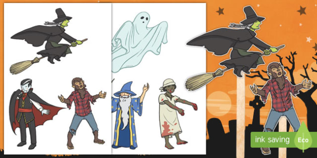 Halloween Themed Stick Puppets