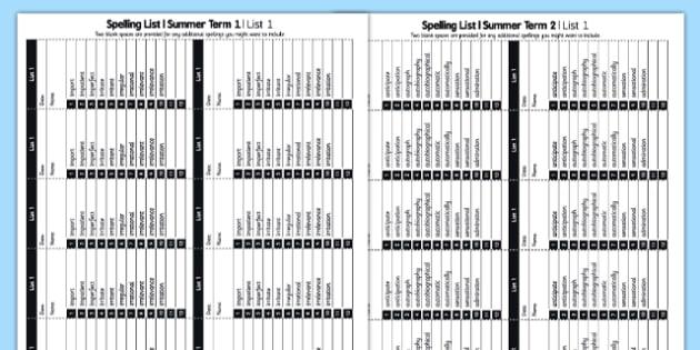 Year 3 Spelling Lists - spellings, spell, words, english, literacy