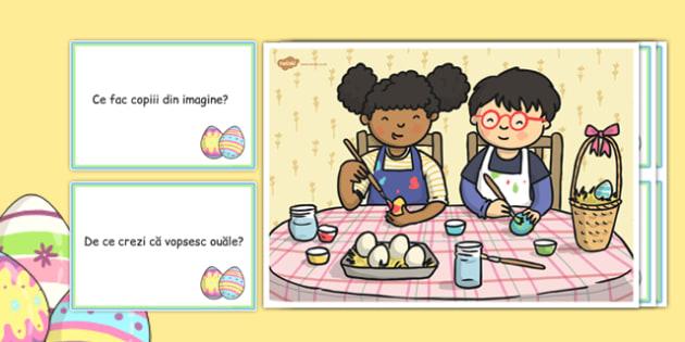 Vopsind ouă de Paște - Planșă cu întrebări - ouă, Paște, Pași, citește, colorează, ouă colorate, lectură, planșă cu întrebări, comunicare, comunicare în limba română, desen, fișe de lucru, fișe de colorat, materiale, materiale didactice, română, roma