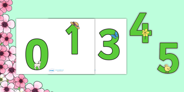 0-9 Display Numbers (Spring) - Display numbers, 0-9, numbers, display numerals, Spring, display lettering, display numbers, display, cut out lettering, lettering for display, display numbers, lambs, daffodils, new life, flowers, buds, plants, growth
