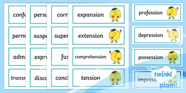 PlanIt English Additional Resources Year 4 Term 1B Word Cards - Spellings Year 4, spelling, word cards, flashcards, Y4, Year 4, Term 1b, SPaG, GPS