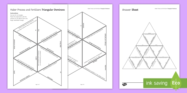 Haber Process and Fertilisers: Tarsia Dominoes  - Tarsia, gcse, chemistry, haber process, ammonia, fertilisers, NPK, nitrogen, hydrogen, ammonium salt