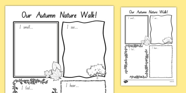 Our Autumn Nature Walk Writing Frame - nz, new zealand, autumn, nature, walk