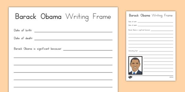 Barack Obama Writing Frame - usa, barack obama, black history month, president