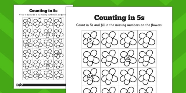 Counting in 5s Flowers Worksheets - counting, 5s, flowers, sheet