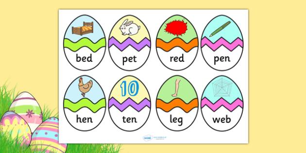 CVC E Words Easter Egg Matching Activity - CVC, easter, match