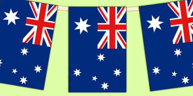 Australia Flag Display Bunting - commonwealth, display, australia