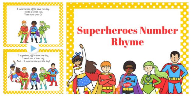 Superheroes Number Rhyme PowerPoint - superheroes, number, rhyme