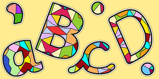 Stained Glass Window Size Editable Display Lettering - RE, letter
