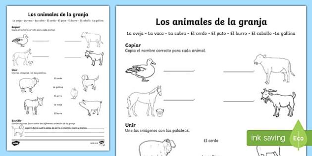 Farm Animals Activity Sheet Spanish, worksheet