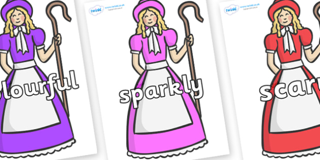 Wow Words on Little Bo Peep - Wow words, adjectives, VCOP, describing, Wow, display, poster, wow display, tasty, scary, ugly, beautiful, colourful sharp, bouncy