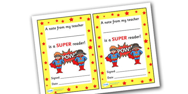Note From Teacher Super Reader - note from teacher super reader, super reader, note from teacher, notes, praise, comment, note, teacher, teacher's, parents, reading