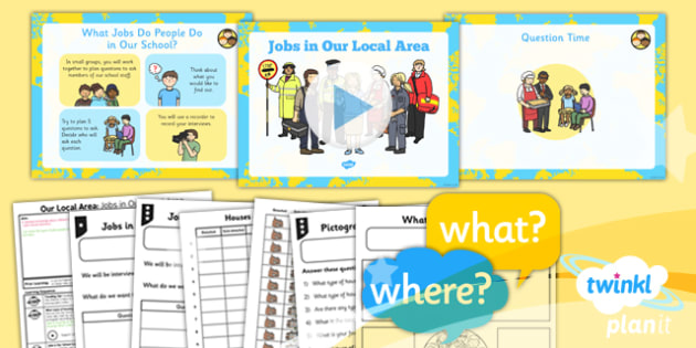 PlanIt - Geography Year 1 - Our Local Area Lesson 5: Jobs in Our Local Area Lesson Pack