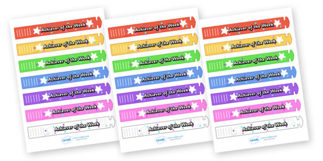 Wristband Awards (Achiever of the Week) - wristband, band, award, reward, award, certificate, medal, rewards, school reward, star of the day