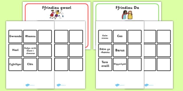 Characteristics of a Good Friend Game Welsh - characteristics, good friend, game, welsh, language, wales