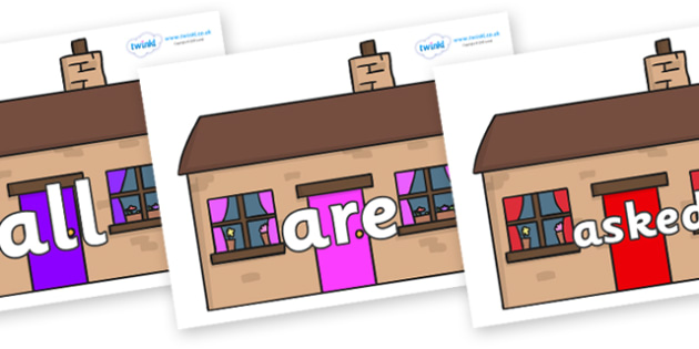Tricky Words on Houses - Tricky words, DfES Letters and Sounds, Letters and sounds, display, words