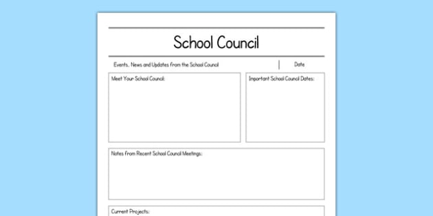 School Council Newsletter Writing Frame - school council, newsletter, writing frame