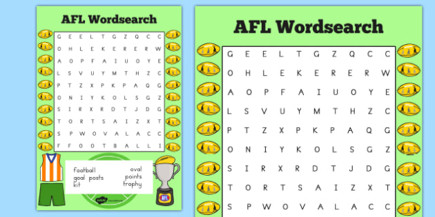 AFL Australian Football League Wordsearch - word games, sport