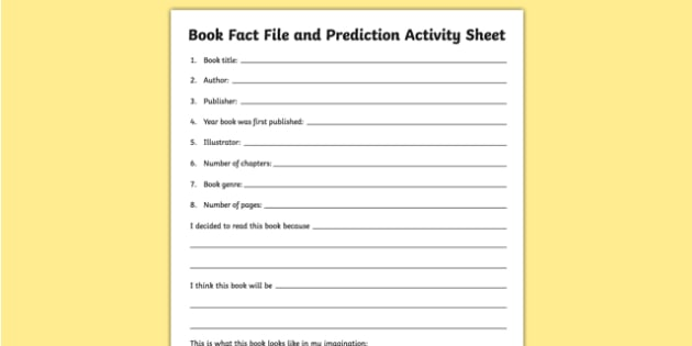Book Fact File and Prediction Activity Sheet, worksheet