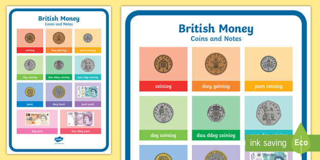 British Money Coins and Notes Bilingual Resource A4 Display Poster - Foundation Phase Profile- Managing Money, Money Display, Arian.,Welsh