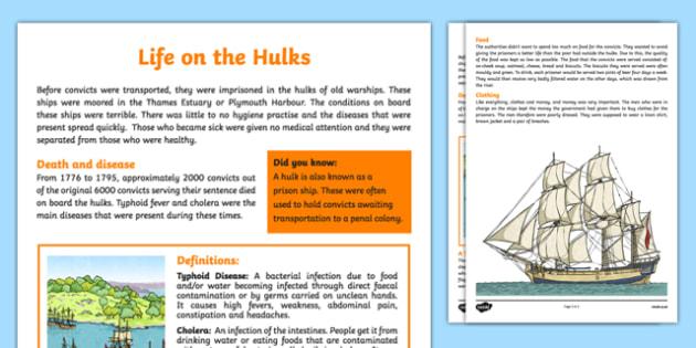 The First Fleet Life on the Hulks Information Sheet - australia, The First Fleet, First Fleet, convicts, voyage, hulks, diseases, life, food, clothing, information, fact sheet, ships