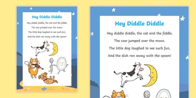 Hey Diddle Diddle Nursery Rhyme Poster - rhymes, poems, display