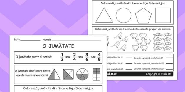 Reprezentarea fracțiilor - Fișă de lucru - fracții, fișă de lucru, reprezentare, desen, matematică, romanian, materiale, materiale didactice, română, romana, material, material didactic