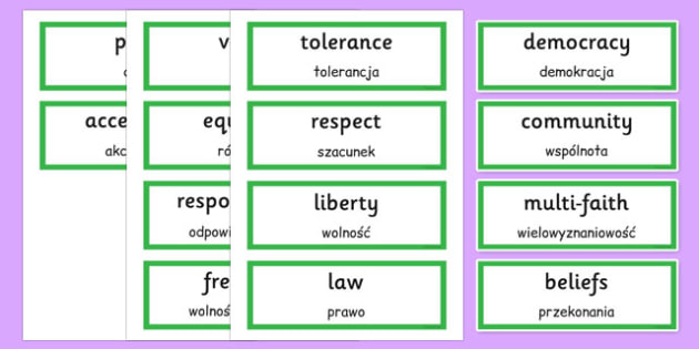 British Values Word Cards Polish Translation - polish, british values, word cards, word, cards, british, values