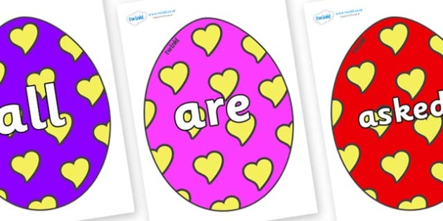 Tricky Words on Easter Eggs (Hearts) - Tricky words, DfES Letters and Sounds, Letters and sounds, display, words
