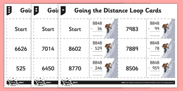 Year 5 Differentiated Subtraction Loop Cards - subtract, subtraction, minus, less than, written method, columnar subtraction, column subtraction, loop cards, differentiated