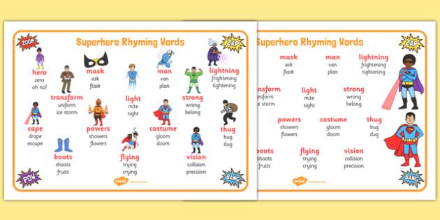 Superhero-Themed Rhyming Word Mat - superhero, rhyming, rhyme, word mat, word, mat