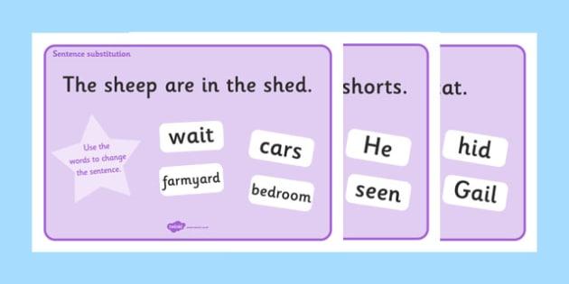 Phase 3 Sentence Substitution Activity Mats - phase 3, phase three, sentence substitution, sentence structure,  sentence building, building sentences, activity, mat, new sentences