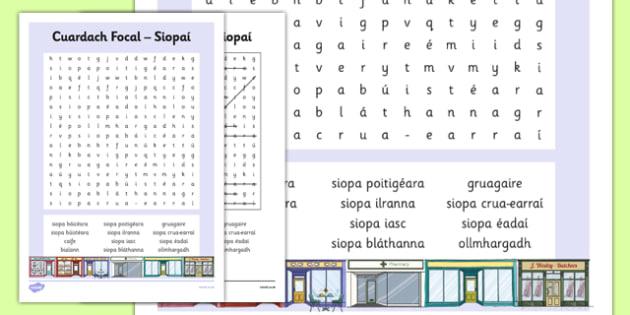 Irish Gaeilge Siopaí Word Search - irish, gaeilge, word search, pack, shopping, town, transport, siopadóireacht